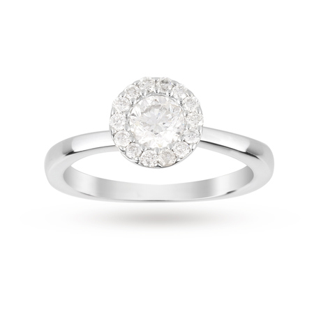 Brilliant Cut 0.30 Carat Halo Diamond Ring in 9 Carat White Gold