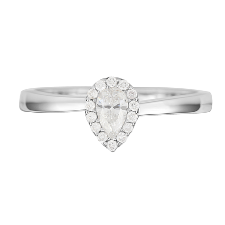 9ct White Gold 0.29ct Pear Cut Diamond Halo Ring