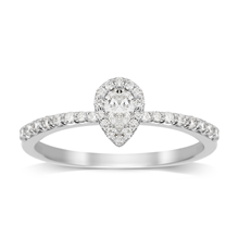 Pear cut 0.49 total carat weight diamond halo ring with diamond set shoulders in 9 carat white gold