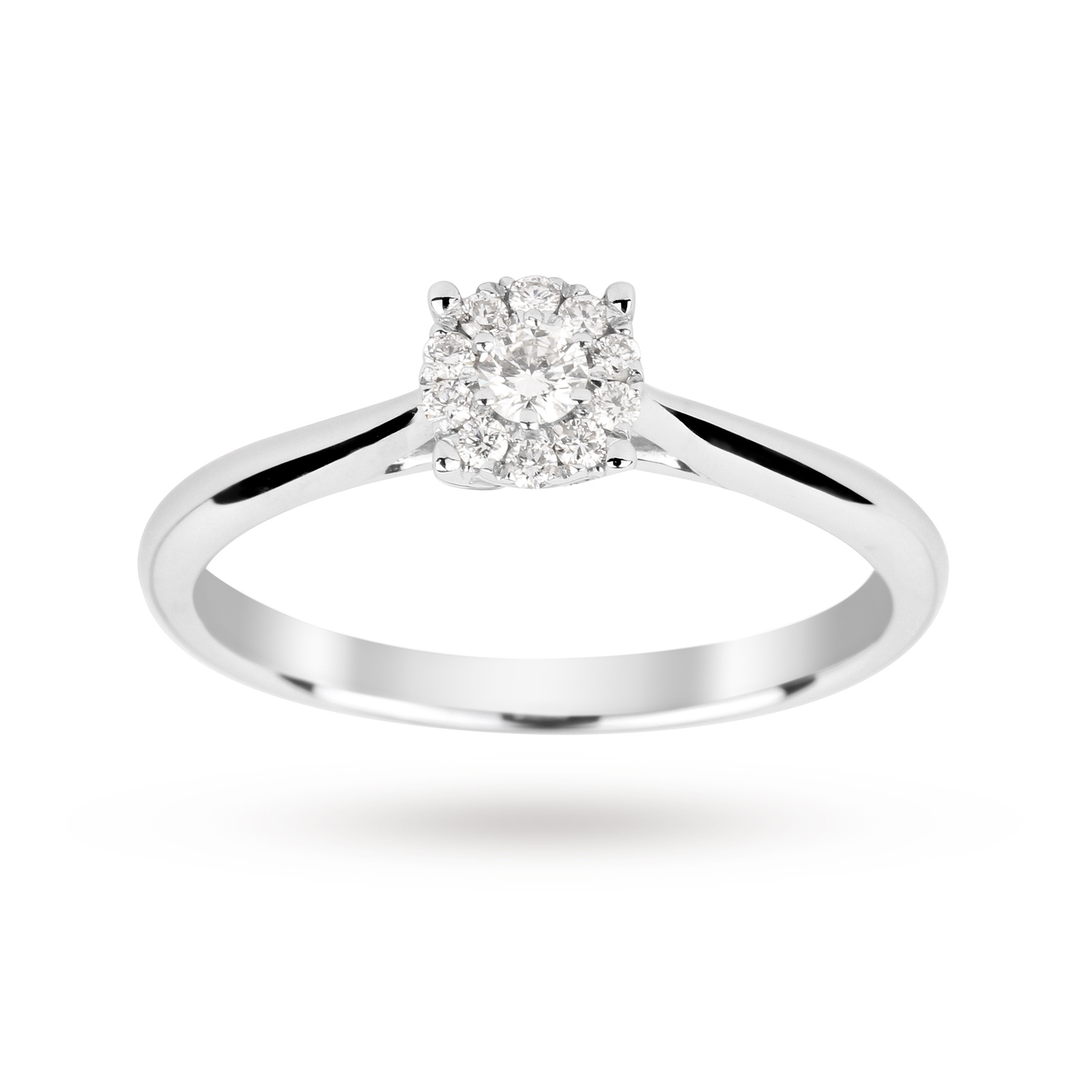 Brilliant cut 0.15 carat solitaire diamond ring in 9 cara ...