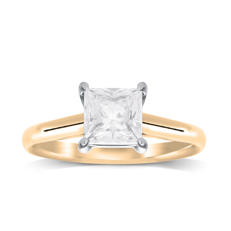 18ct Yellow Gold 0.33ct Princess Cut Solitaire Ring