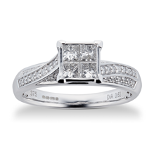 Princess and Brilliant Cut 0.76 Carat Total Weight Diamond Bridal Set in 9 Carat White Gold