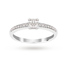 Princess Cut 0.30 Carat Total Weight Diamond Cluster Ring with Diamond Set Shoulders in 9 Carat White Gold