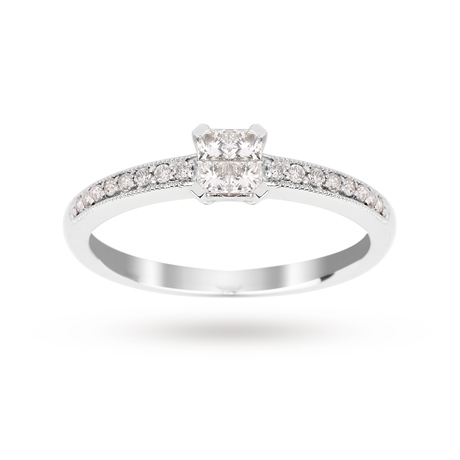 Princess Cut 0.30 Carat Total Weight Diamond Cluster Ring with Diamond Set Shoulders in 18 Carat White Gold