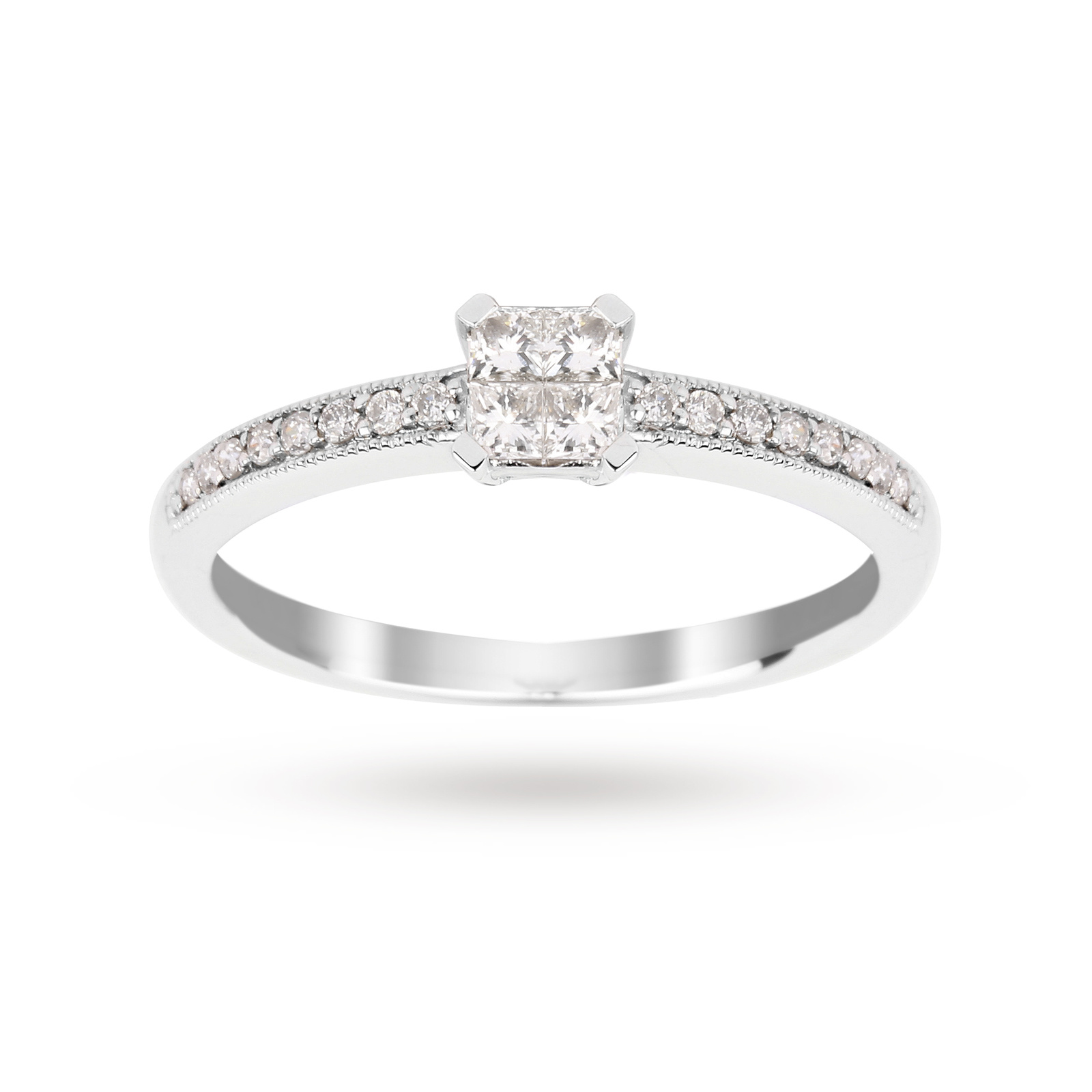 Princess Cut 0.30 Carat Total Weight Diamond Cluster Ring ...