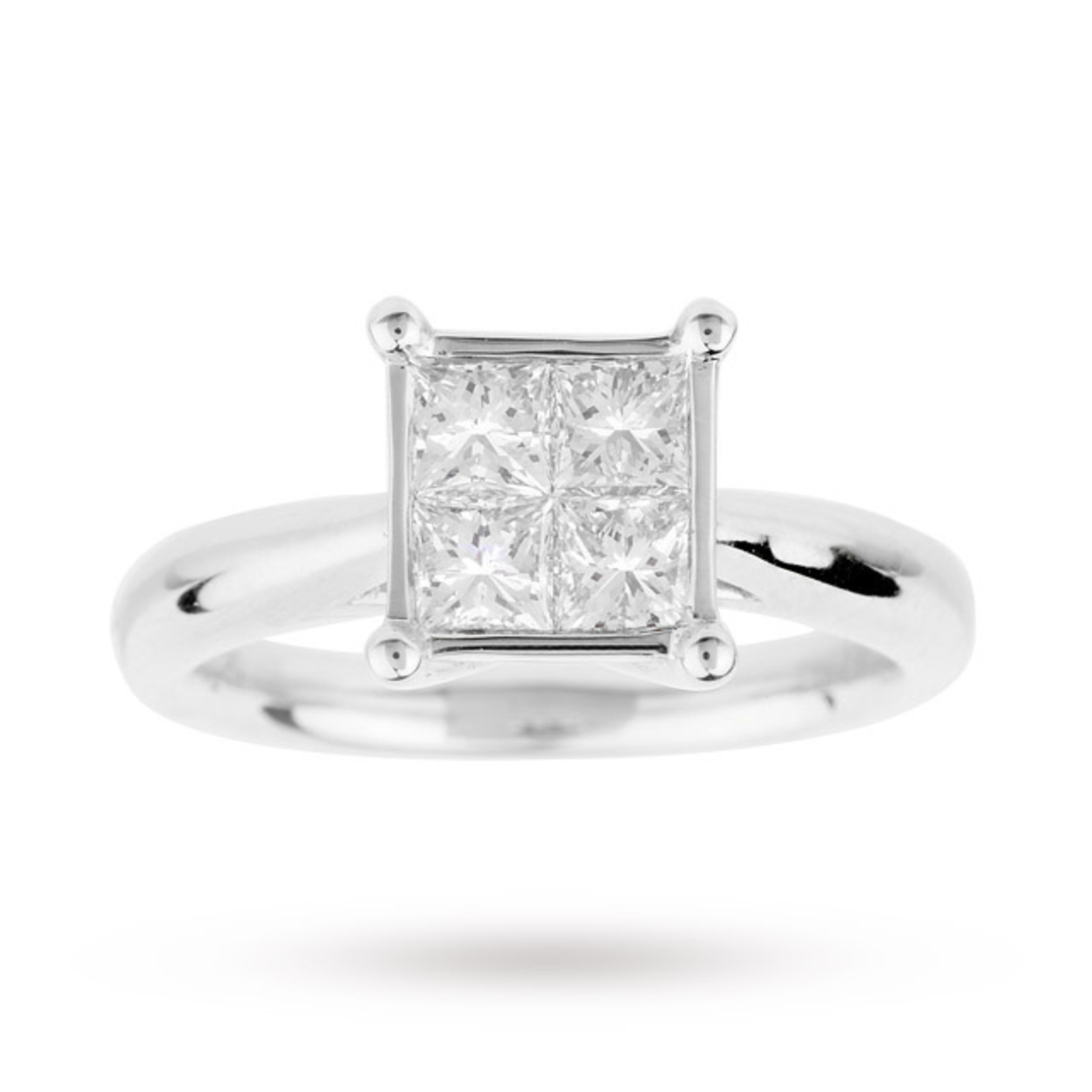 Princess Cut 1 00 Carat Total Weight Invisible Set Diamond Ring Set
