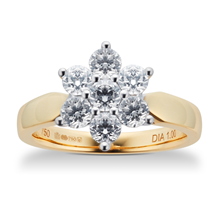 Brilliant Cut 1.00ct Total Weight Diamond Cluster Ring In 18ct Yellow Gold