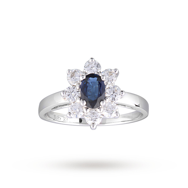 Sapphire And Diamond Cluster Ring In 18ct White Gold - Ring Size L