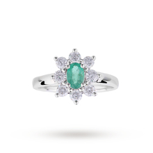 Emerald and Diamond Cluster Ring in 18 Carat White Gold