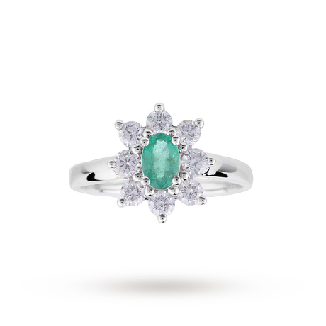 Emerald And Diamond Cluster Ring In Platinum