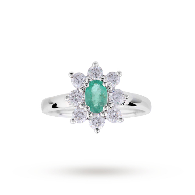 Emerald and Diamond Cluster Ring in 18 Carat White Gold - Ring Size J