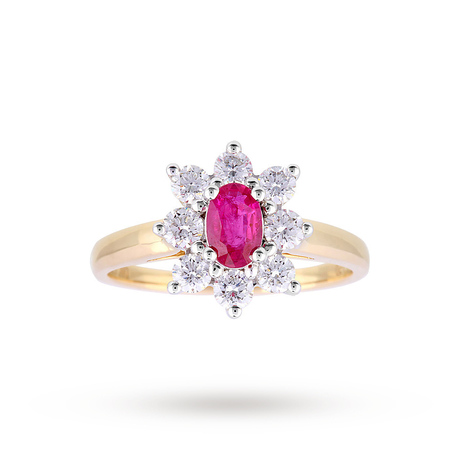 Ruby And Diamond Cluster Ring In 18ct Yellow Gold