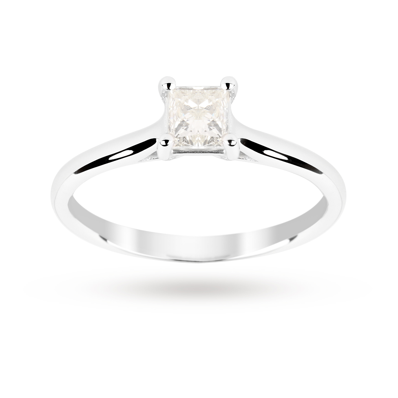 Princess Cut 0.50 Carat 4 Claw Diamond Solitaire Ring in ...