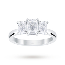 Platinum 1.50 Carat Diamond Three Stone Emerald Cut Ring