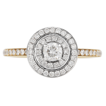 For Her - Brilliant Cut 0.50 Carat Total Weight Double Halo Diamond Ring in 18 Carat Yellow Gold - M06016634