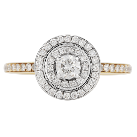 Brilliant Cut 0.50 Carat Total Weight Double Halo Diamond Ring in 18 Carat Yellow Gold