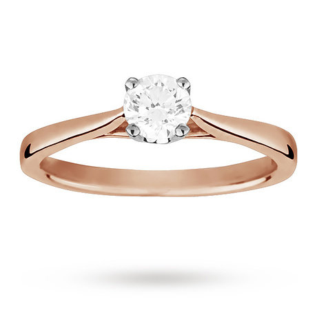 Solitaire Brilliant Cut 0.40 Carat Diamond Ring Set In 18 Carat Rose Gold