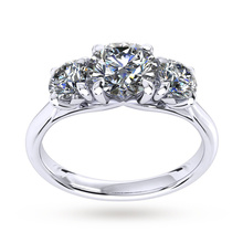 Ena Harkness Three Stone Platinum 1.60cttw Diamond Engagement Ring