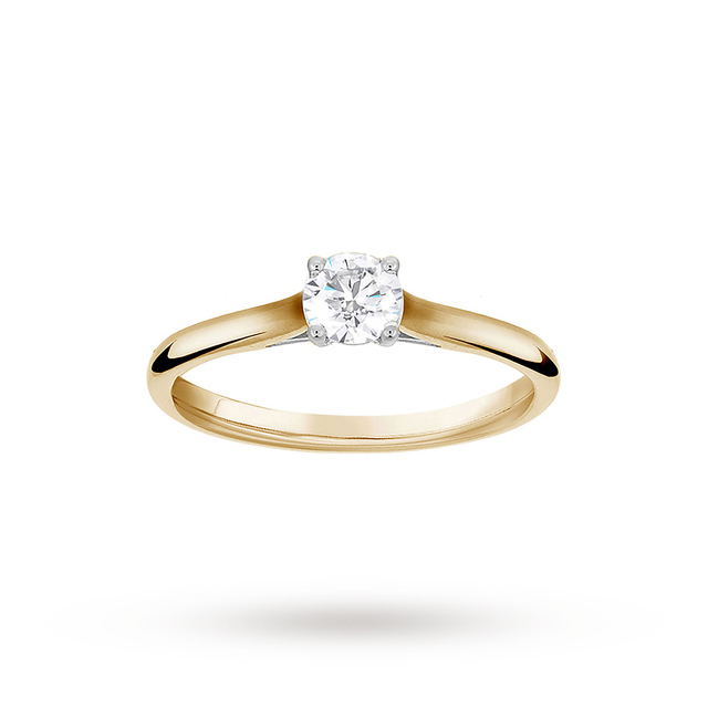 Brilliant Cut 0.33ct 4 Claw Diamond Solitaire Ring In 9ct ...