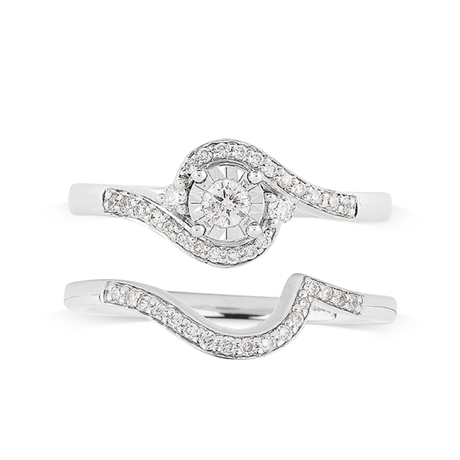 9ct White Gold Illusion 0.33ct Diamond Bridal Set