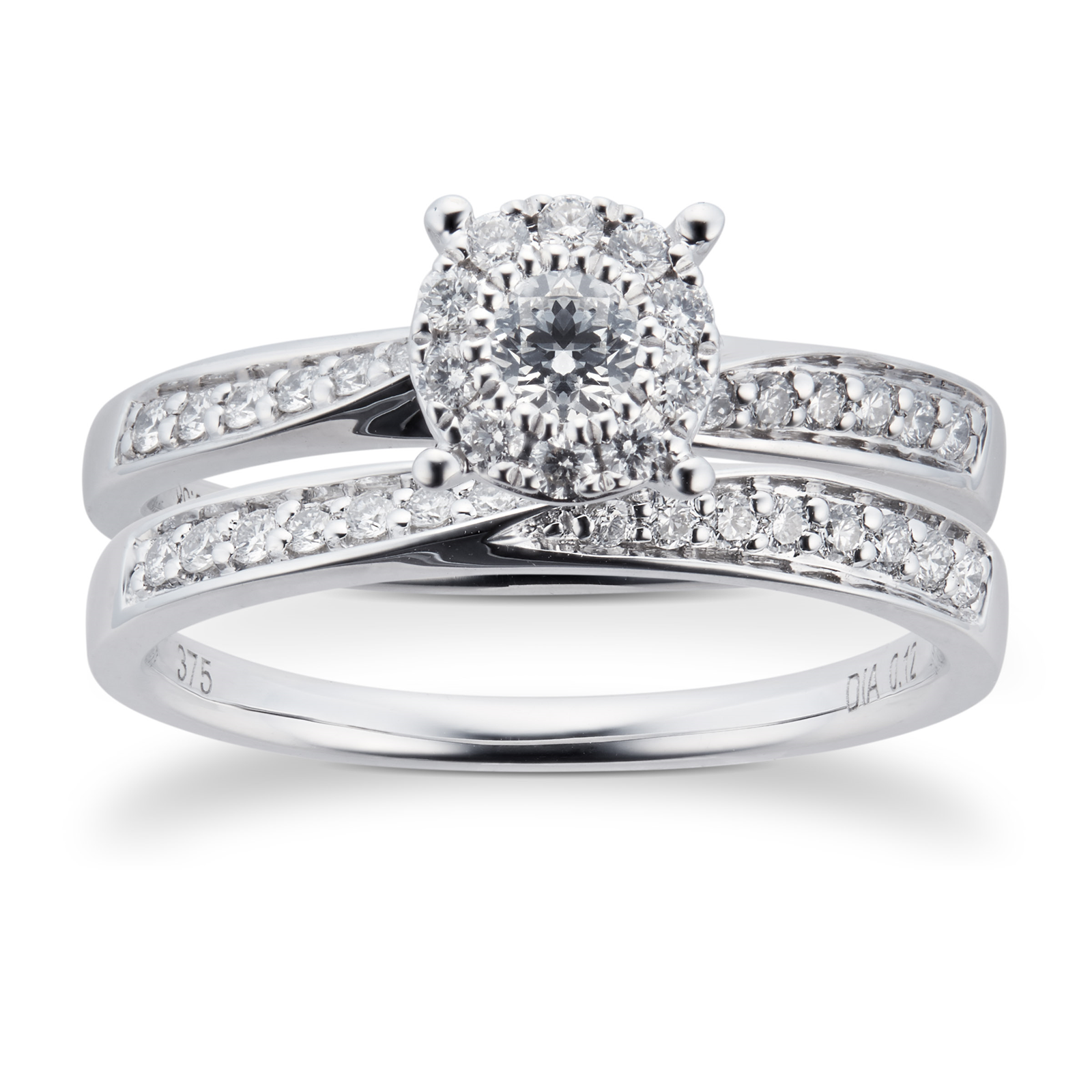 9ct White Gold Multistone Diamond Bridal Set - Ring Size J