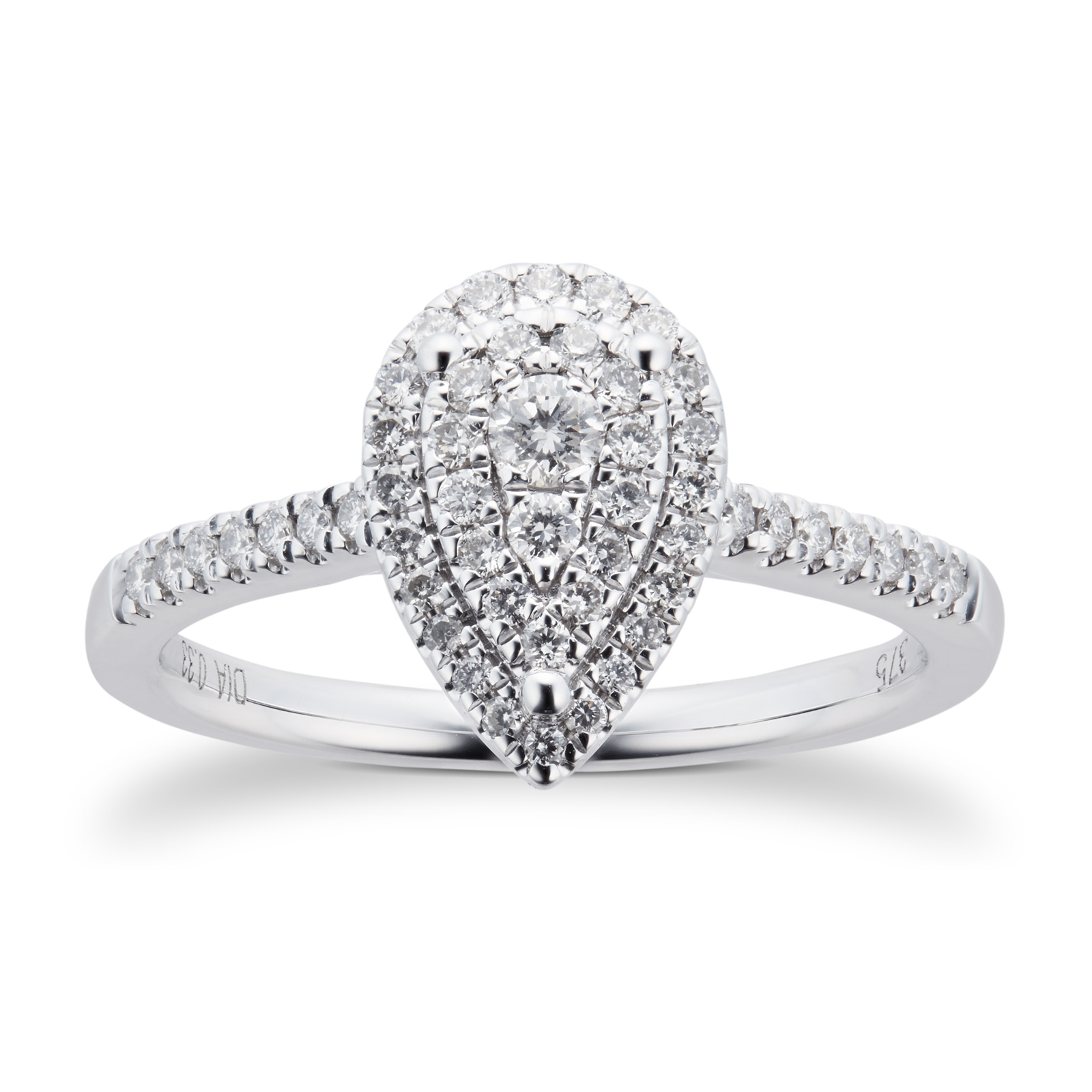 the pear engagement ring rings halo wedding finnies diamond platinum jewellers image