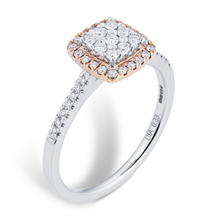 9ct Rose and White Gold Multi Stone Halo Cushion Cut Ring