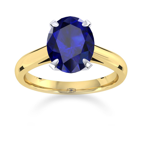 Belvedere 18ct Yellow Gold Oval Cut 9x7mm Sapphire Ring