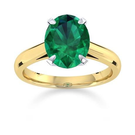 Belvedere 18ct Yellow Gold Oval Cut 7x5mm Emerald Ring
