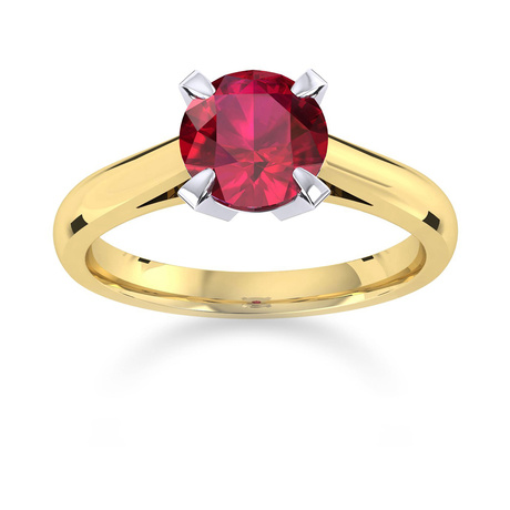 Belvedere 18ct Yellow Gold Round Cut 6mm Ruby Ring