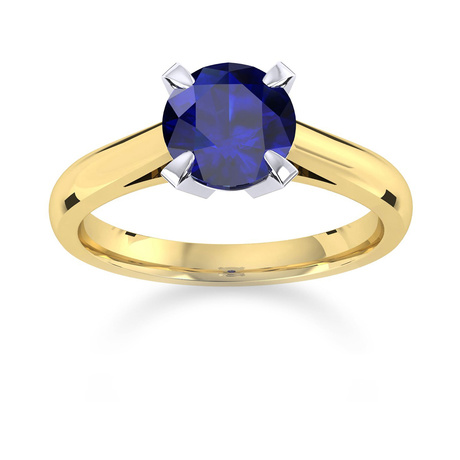 Belvedere 18ct Yellow Gold Round Cut 6mm Sapphire Ring