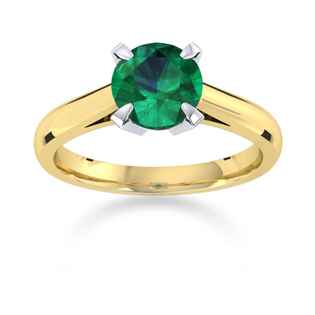 Belvedere 18ct Yellow Gold Round Cut 4mm Emerald Ring