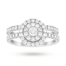 Brilliant Cut 1.00 Total Carat Weight Cluster Bridal Set in 18 Carat White Gold