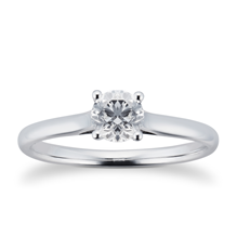 Brilliant Cut 0.50ct 4 Claw Diamond Solitaire Ring In 9ct White Gold