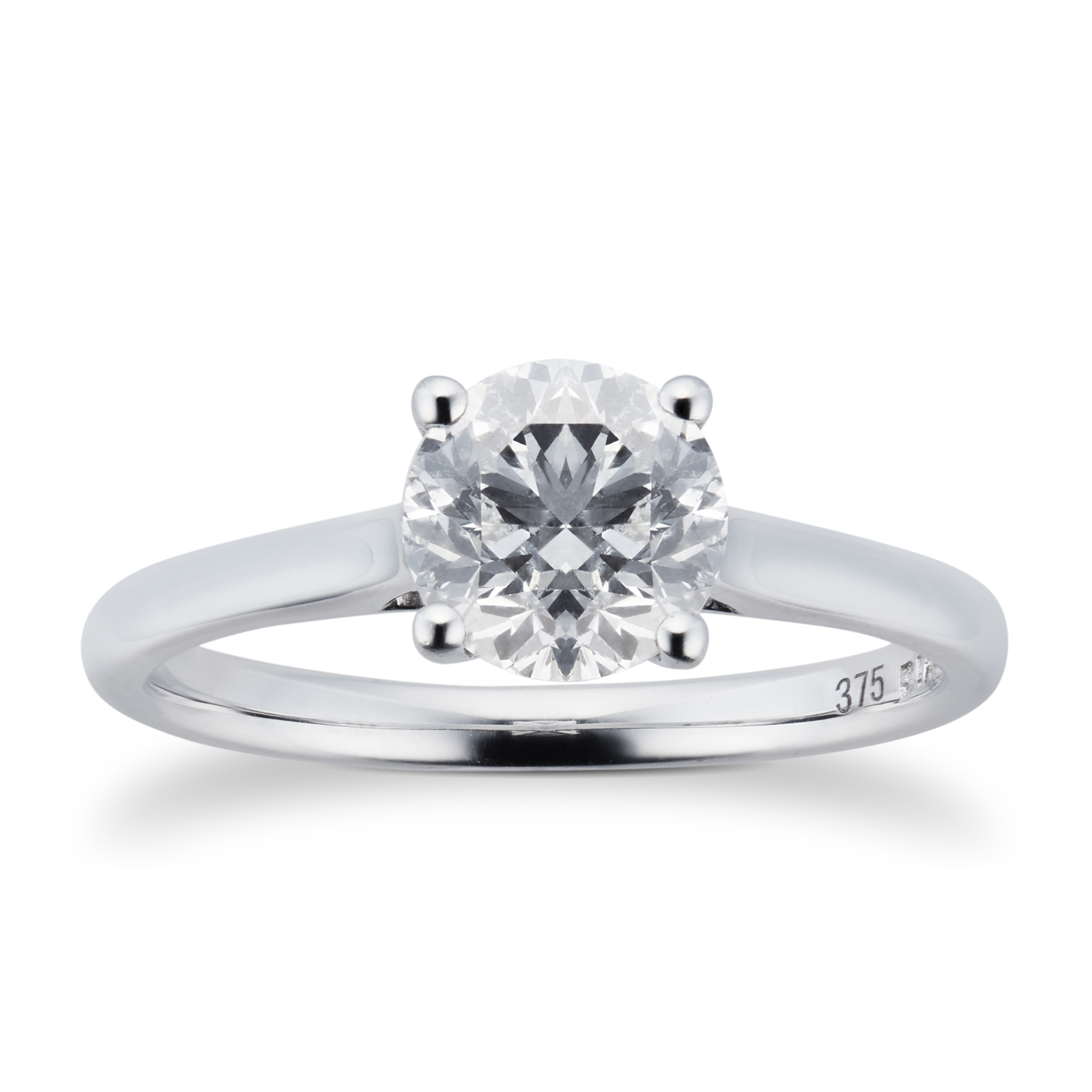 Brilliant Cut 1.00ct 4 Claw Diamond Solitaire Ring In 9ct ...