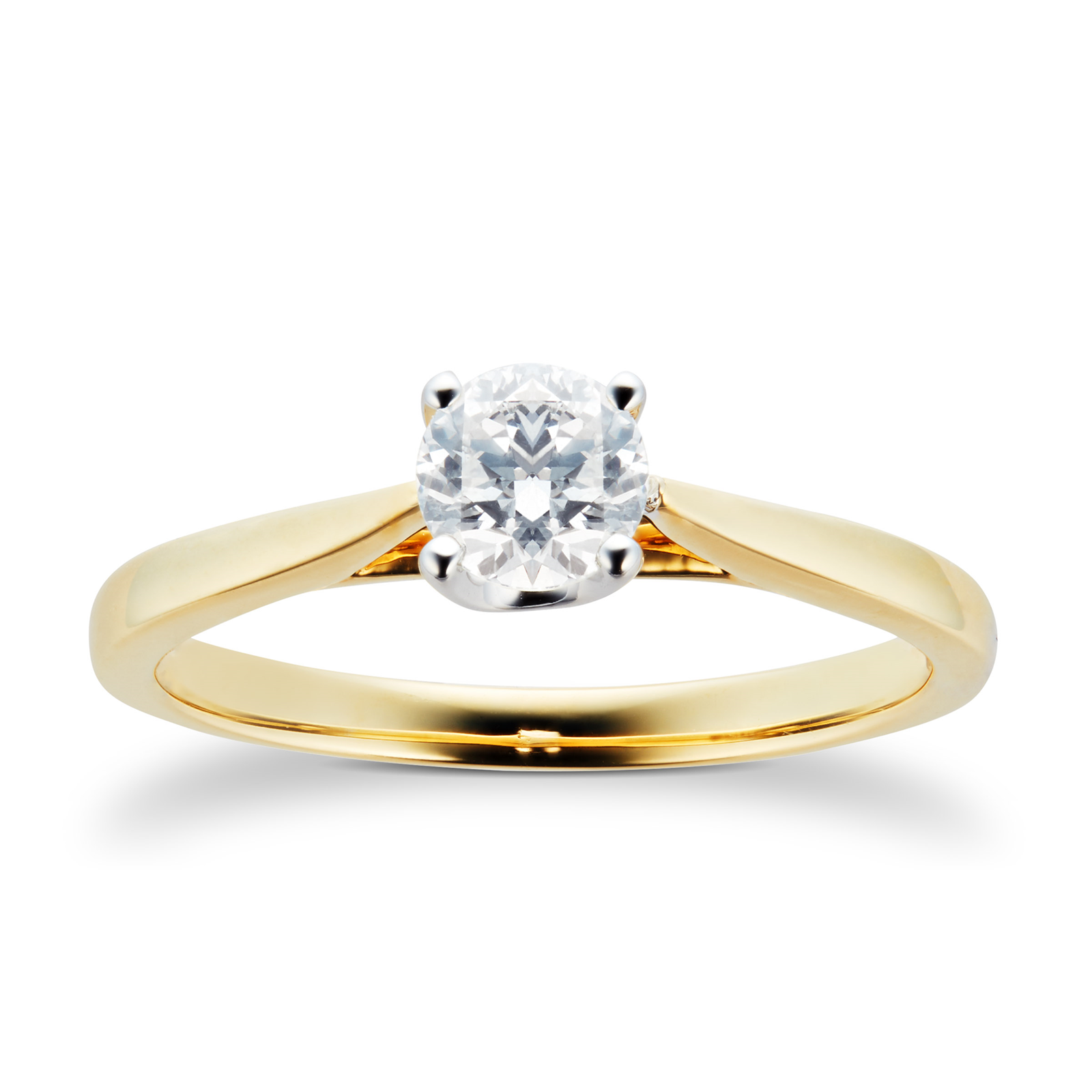 18ct Yellow Gold Brilliant Cut 0.40 Carat 88 Facet Diamond Ring - Ring Size K