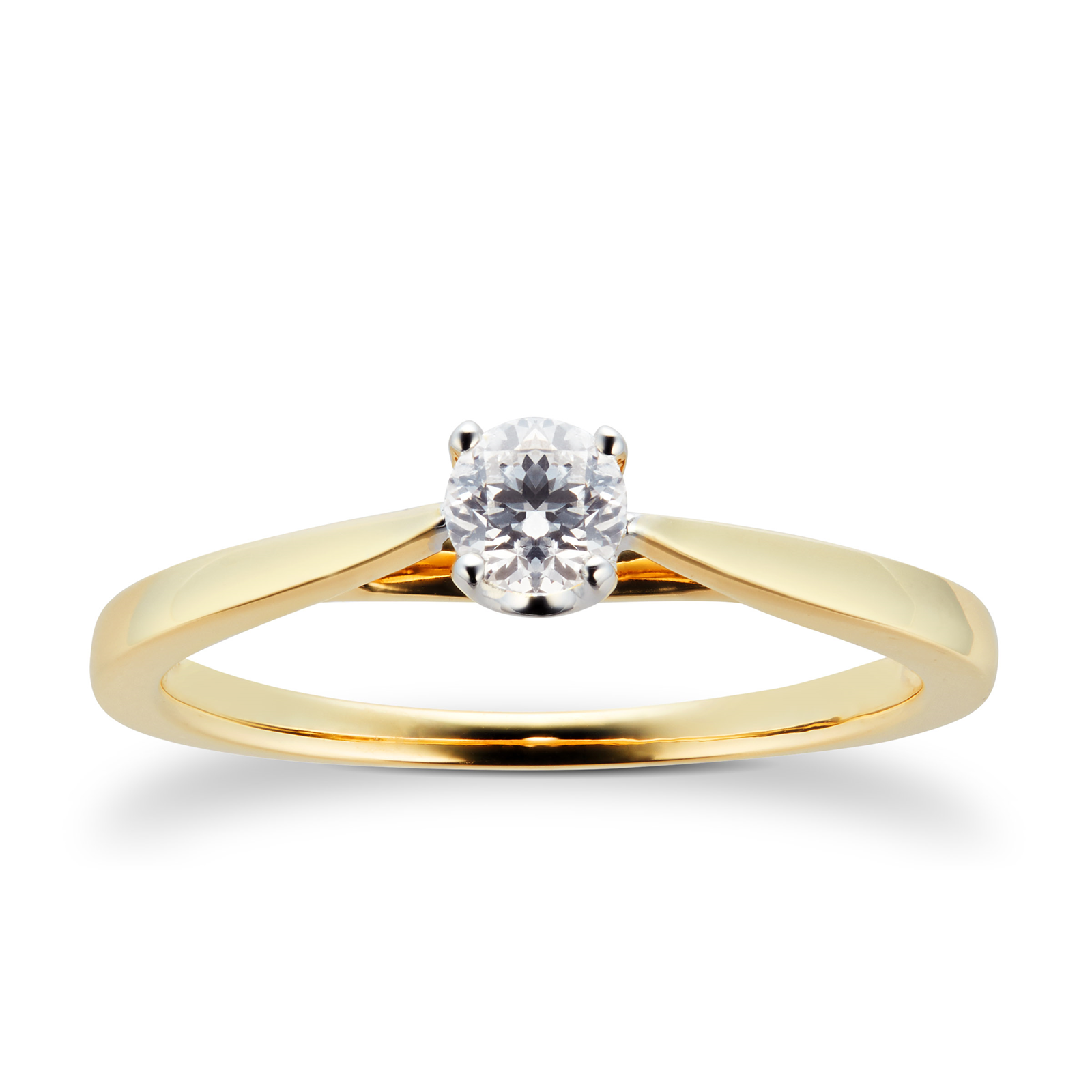 18ct Yellow Gold Brilliant Cut 0.25 Carat 88 Facet Diamond Ring - Ring Size J