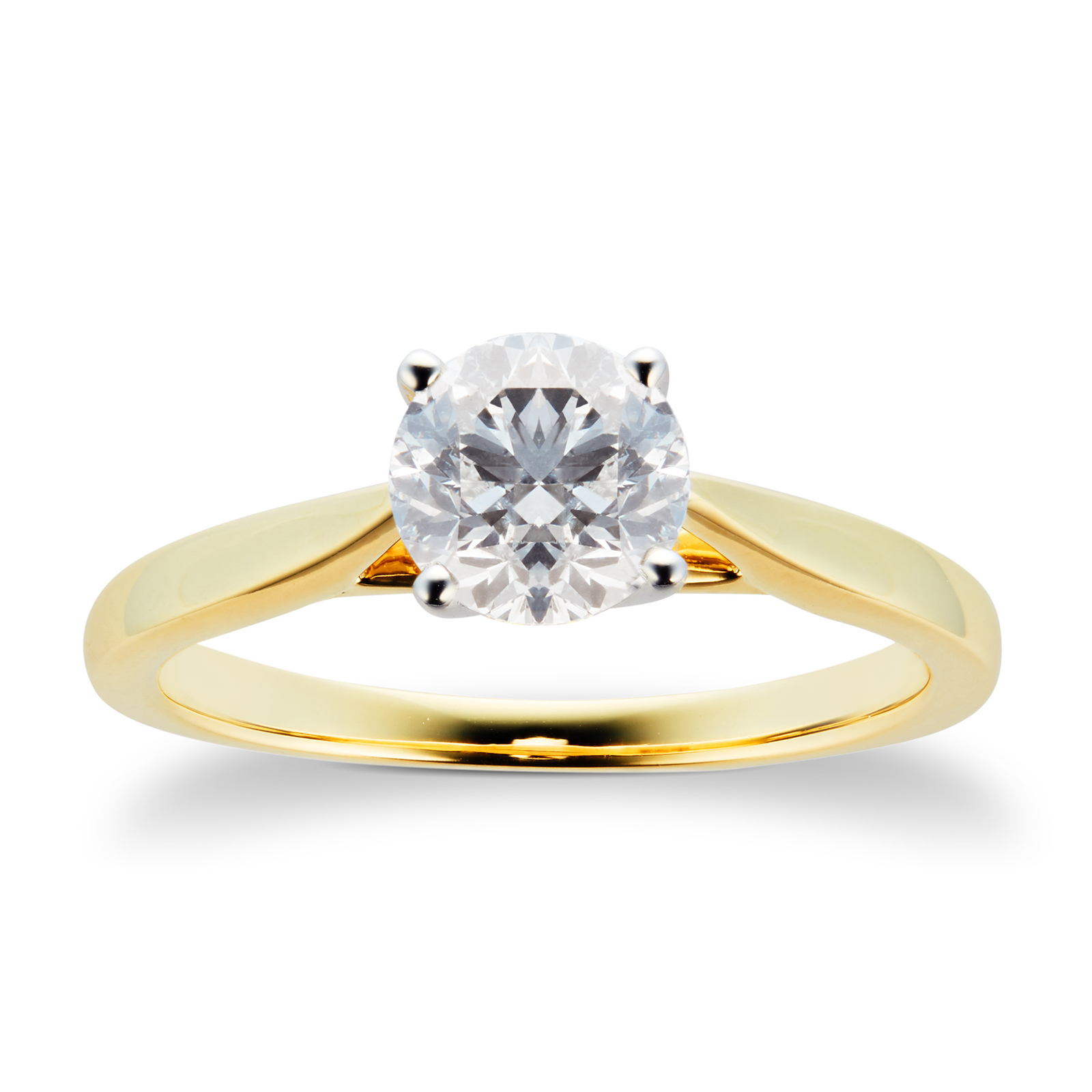 18ct Yellow Gold Brilliant Cut 1.00 Carat 88 Facet Diamond Ring - Ring Size J