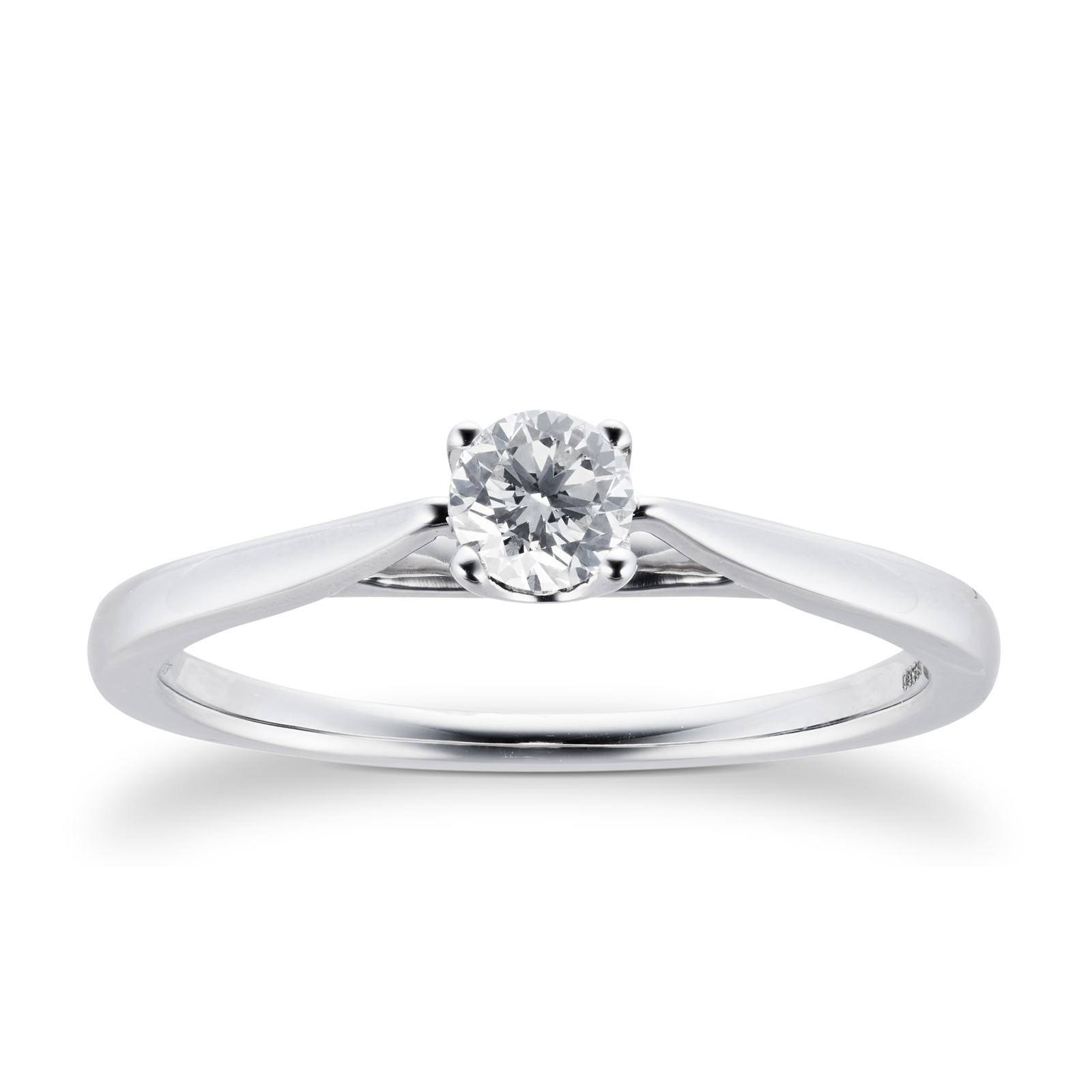 Platinum Brilliant Cut 0.25 Carat 88 Facet Diamond Ring - Ring Size J