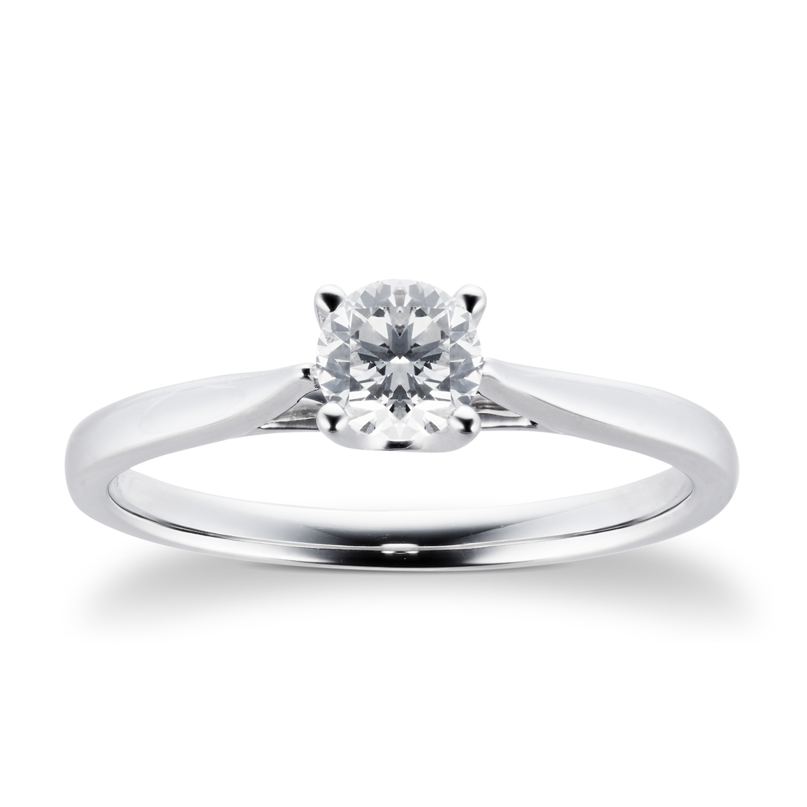 Platinum Brilliant Cut 0.40 Carat 88 Facet Diamond Ring - Ring Size J