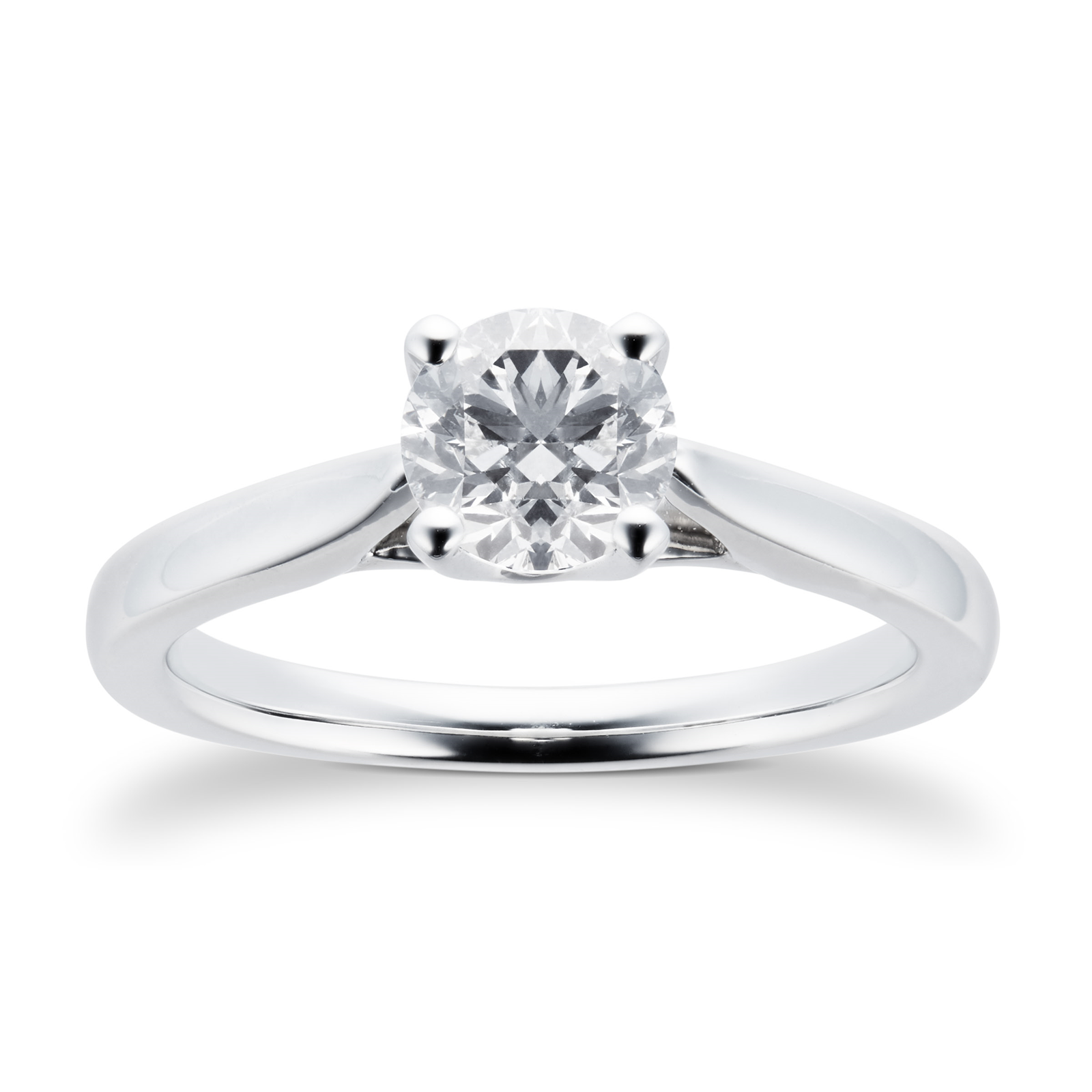 Platinum Brilliant Cut 0.70 Carat 88 Facet Diamond Ring - Ring Size J