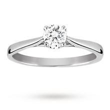 Platinum Brilliant Cut 0.30 Carat 88 Facet Diamond Ring