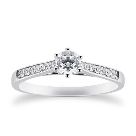 Platinum Brilliant Cut 0.42 Carat 88 Facet Diamond Ring