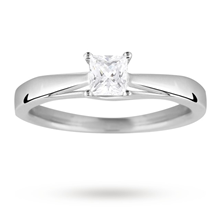 Platinum Princess Cut 0.40 Carat 88 Facet Diamond Ring