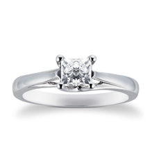Platinum Princess Cut 0.70 Carat 88 Facet Diamond Ring