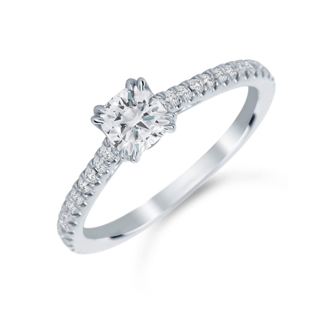 Platinum 0.75 Carat Total Weight Diamond Set Shoulder Engagement Ring