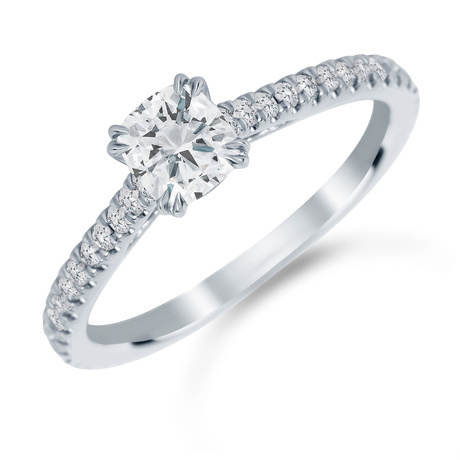 Platinum 1.00 Carat Total Weight Diamond Set Shoulder Engagement Ring