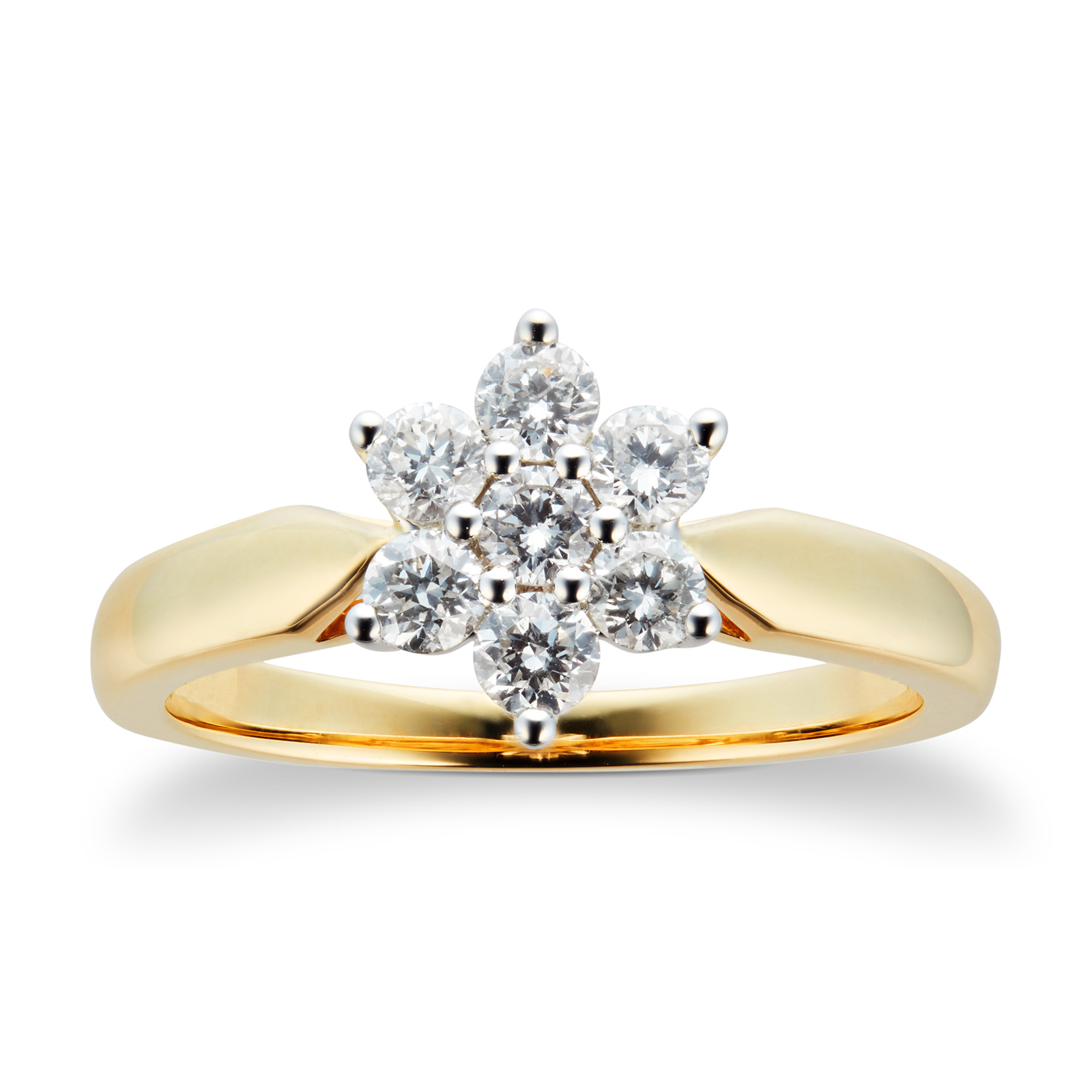 18ct Yellow Gold 0.50ct 88 Facet Diamond Cluster Ring - Ring Size J