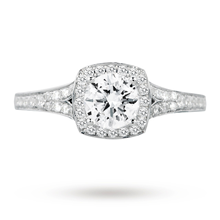 18ct White Gold 1.00ct 88 Facet Diamond Ring With Diamond Set Shoulders