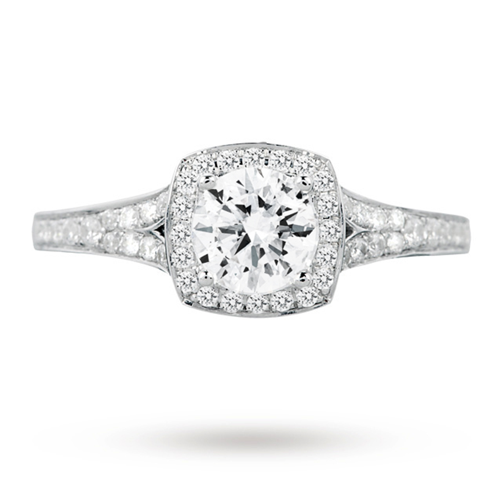 18ct White Gold 1.00ct 88 Facet Diamond Ring With Diamond ...